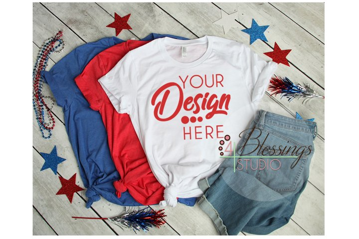 Red White Blue T Shirt 4th of July Mockup Bella Canvas 3001