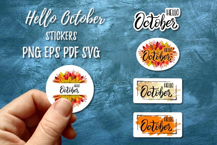 Hello October Stickers | Fall stickers | Autumn Leaves