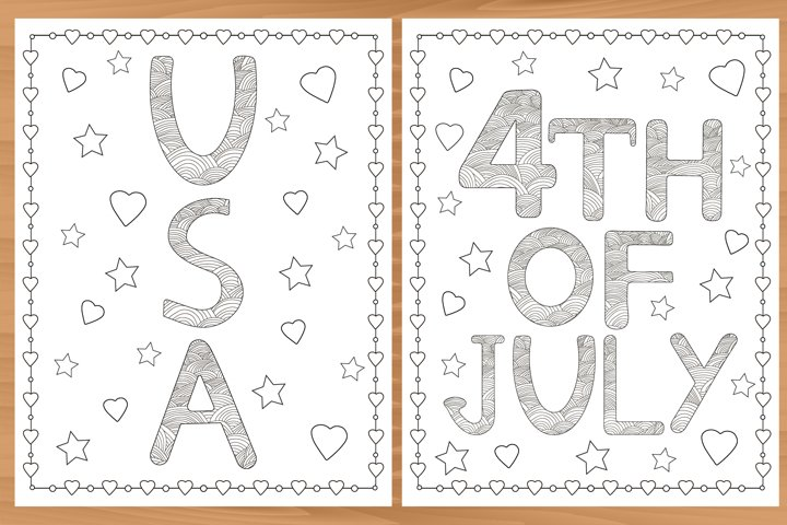 6 Printable coloring pages. USA. 4th of July.