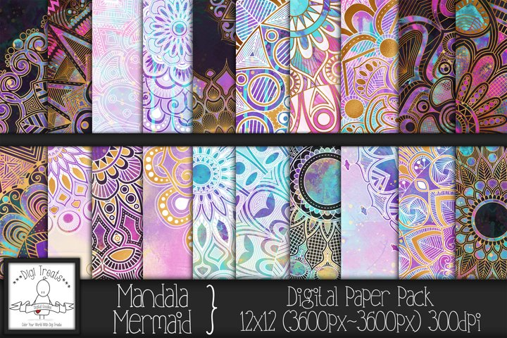 Mandala Mermaid 12x12 Digital Paper Pack