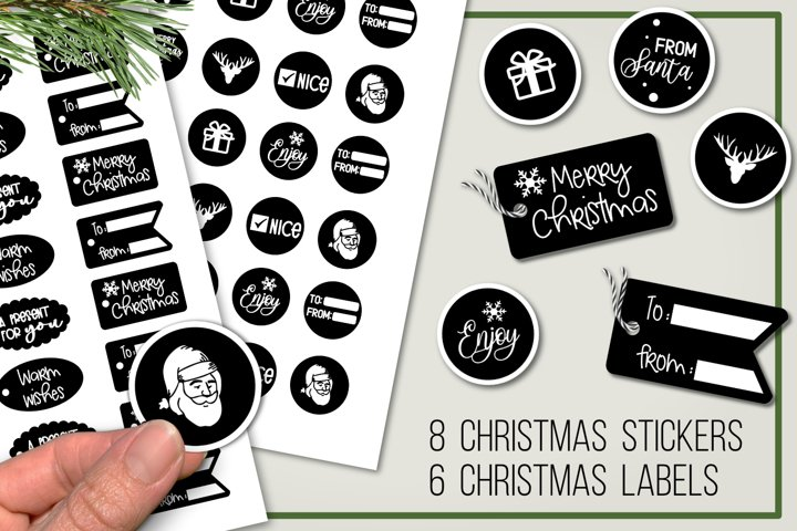 Christmas gift stickers and labels - PNG - Print and cut