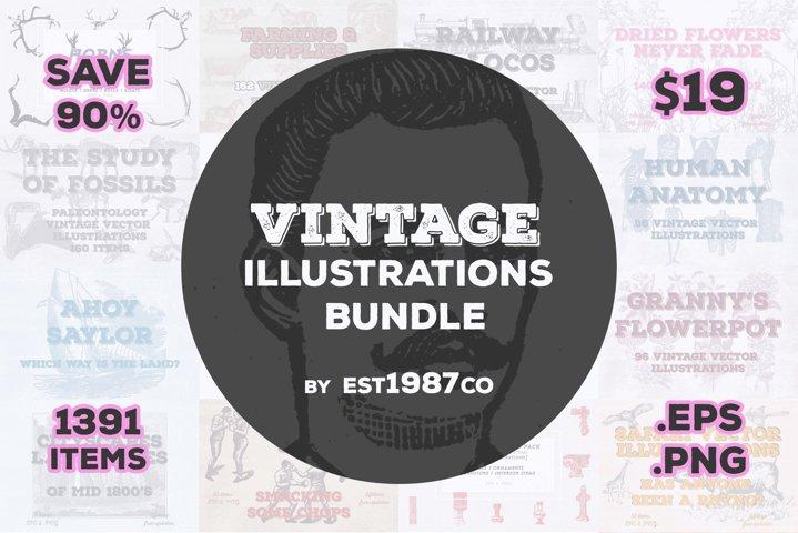 Vintage Vector Illustrations Bundle 1391 Items