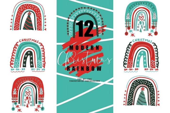 Bundle of 12 modern christmas rainbow, rainbows abstract PNG