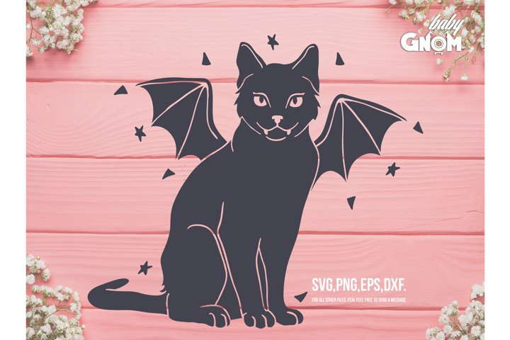 Bat Cat SVG, Black Cat clip art, Cat with Bat wings svg, Hal
