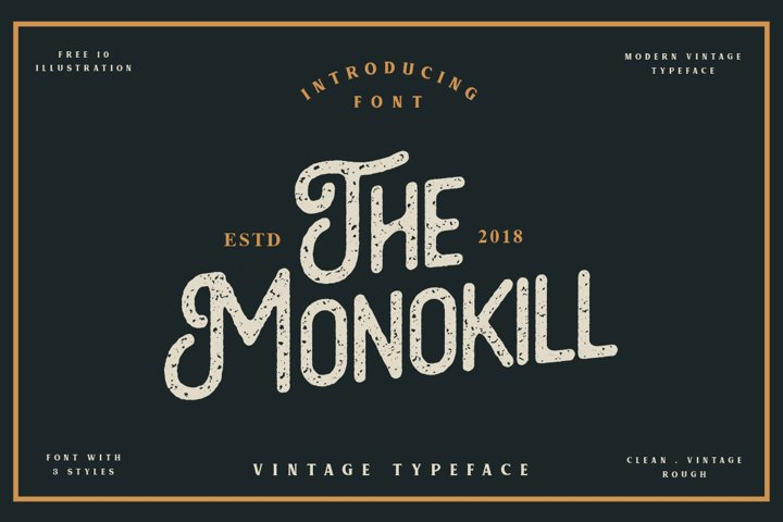 The Monokill - 3 Font With Extras