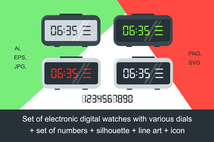 Set of electronic digital watches with various dials