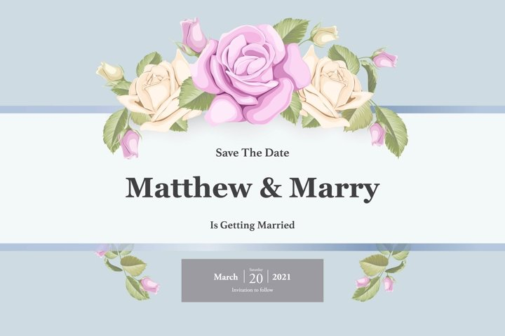 simple wedding invitation template with roses