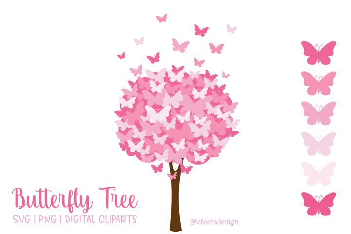 Butterfly Tree PNG SVG Pretty Pink
