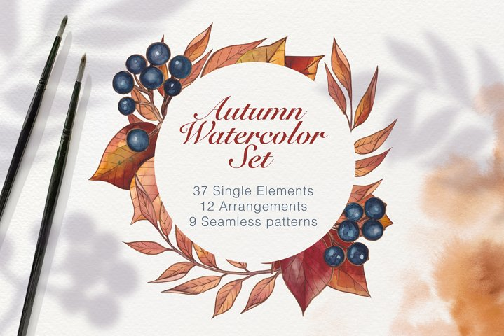 Great Watercolor Autumn collection
