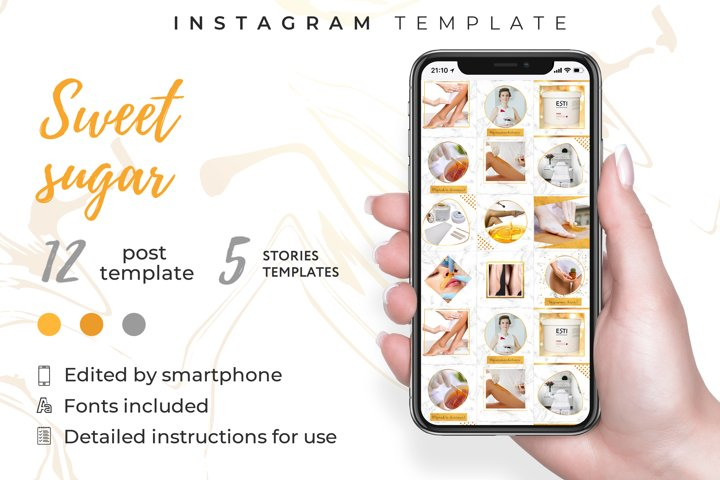 Beauty salon|instagram template kit|Canva template| 12puzzle