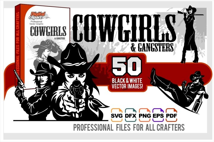 Cowgirls and Gangsters - 50 vector designs