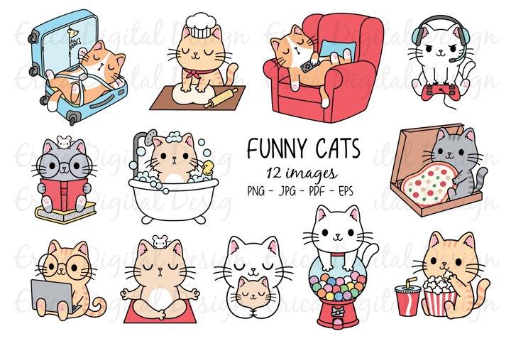 Funny Cats Clipart set - 12 cute images
