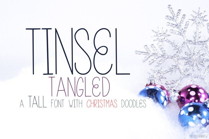 Tinsel Tangled, A Christmas Font With Fun Doodles
