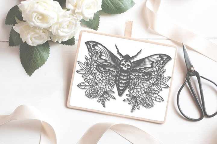 Skull Moth papercutting sublimation graphic illustration