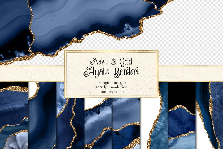 Navy and Gold Agate Borders