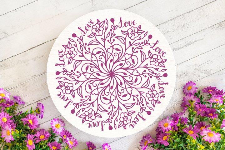 Floral Love Mandala SVG - Floral Mandala example 2