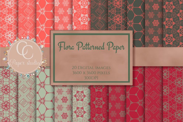 Hand drawn Flora tone paper pack