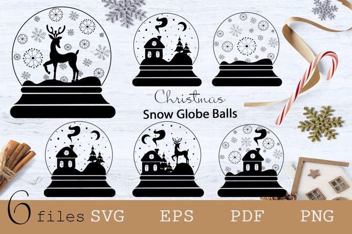 Snow Globe Clipart, Snow globe ball christmas icons set