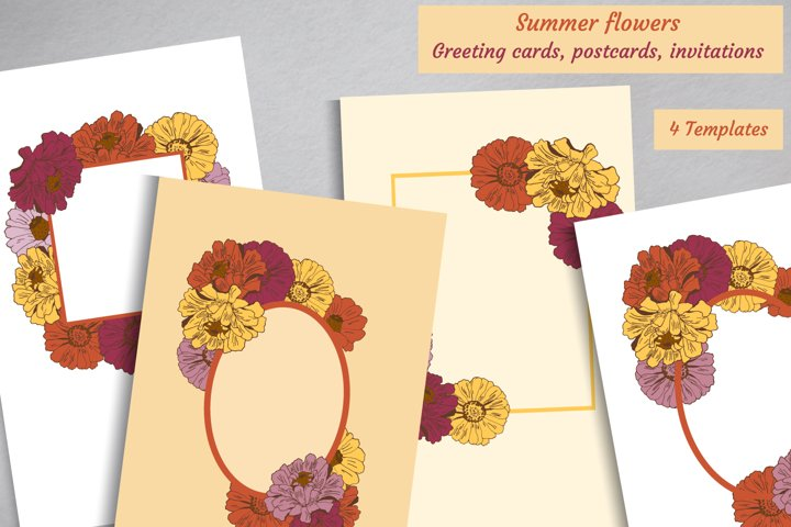 Summer flowers vector greeting cards, postcards collection