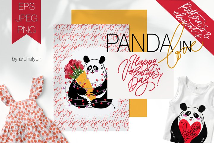 Panda in Love. Cute pandas with patterns and clipart