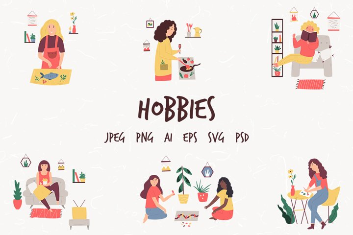 Hobbies. Set of illustrations With People.