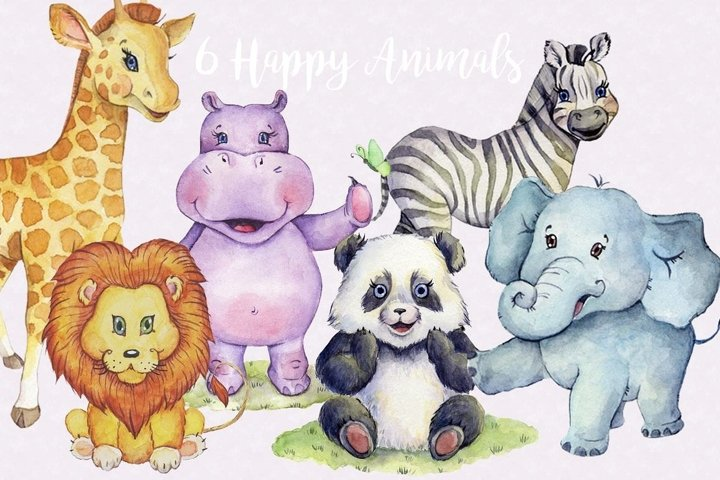 Watercolor Animals Clipart Images by Whimseez