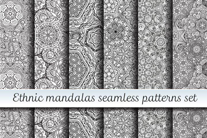 Ethnic mandalas black and white seamless patterns