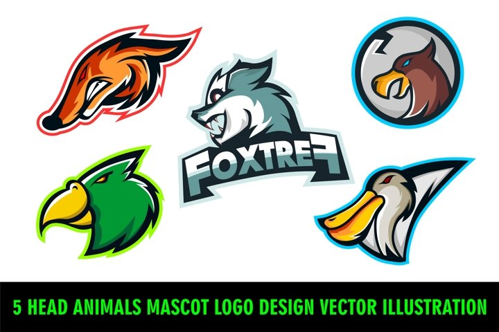 5 Head Animals Mascot Logo Design Vector Illustration