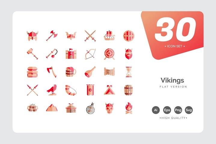 Vikings Icon Set Flat