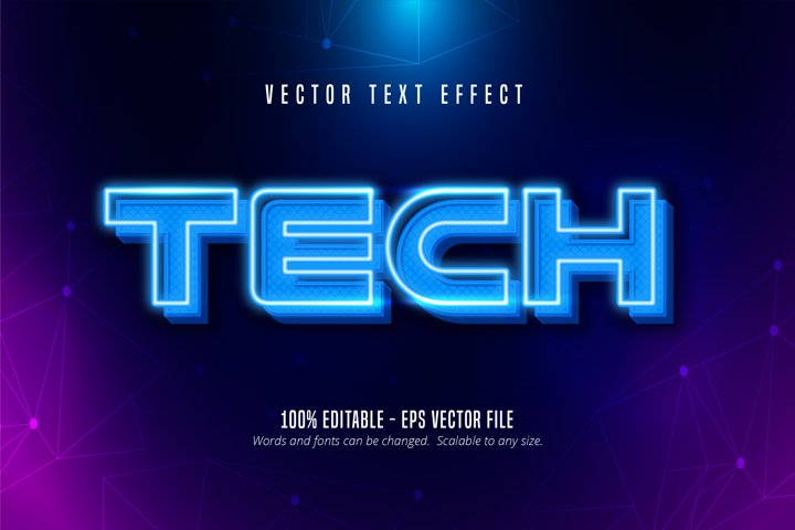 Tech text, neon style editable text effect