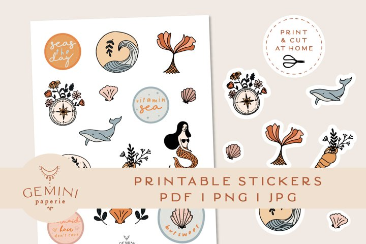 Nautical Printable Stickers   Cricut Design Sticker Sheet
