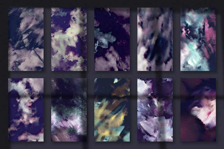 Brushstroke Textures Collection - 10 Seamless Digital Papers example 2
