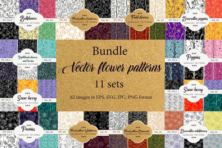 A bundle of floral contoured seamless patterns.