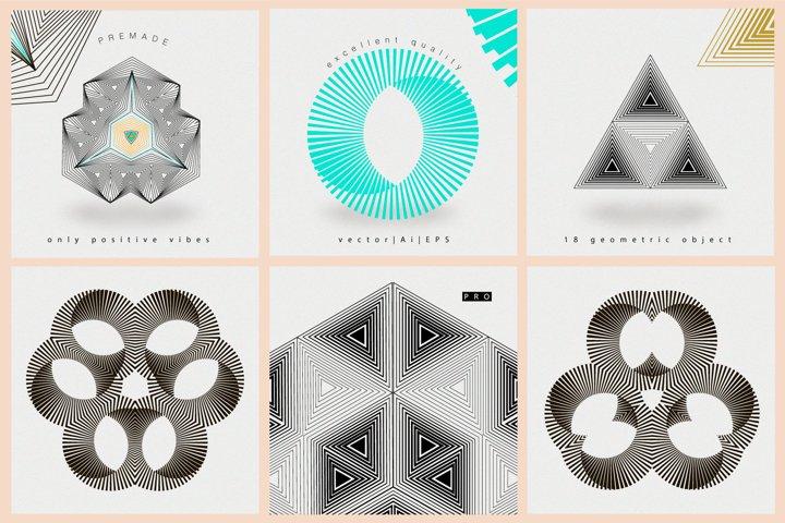Illusion linear geometric shapes example 8