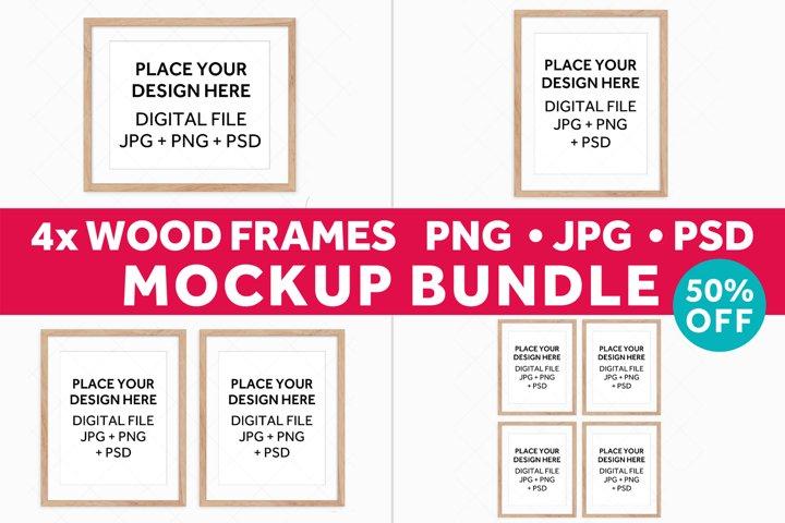 Wood Frames Mockup Bundle, Poster Mockup Digital Frames