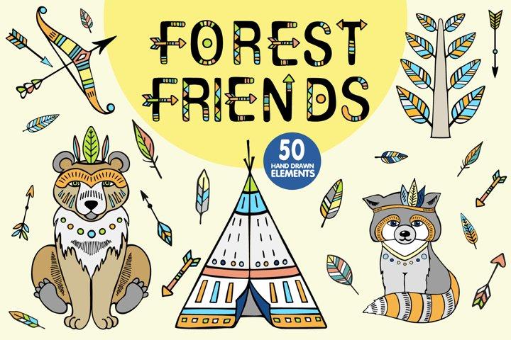 Forest Friends. Tribal Clip Art