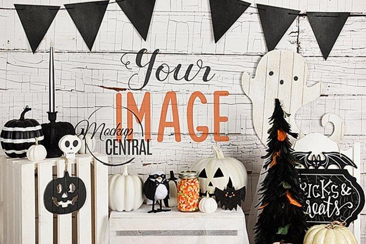 Halloween Wall Background Mock Up, JPG Mockup Photo