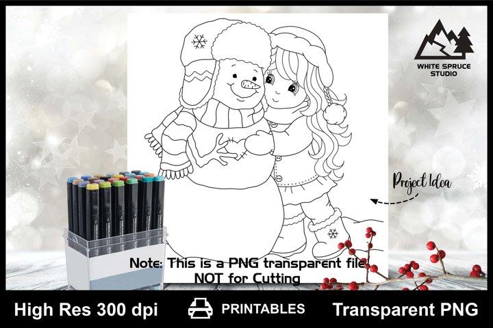 Winter Girl Hugging Snowman Printable Line Art PNG