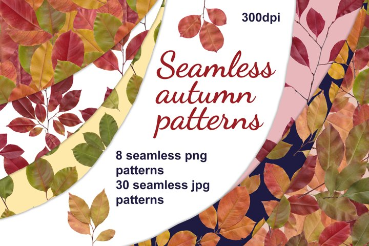 Beautiful seamless patterns with autumn leaves.