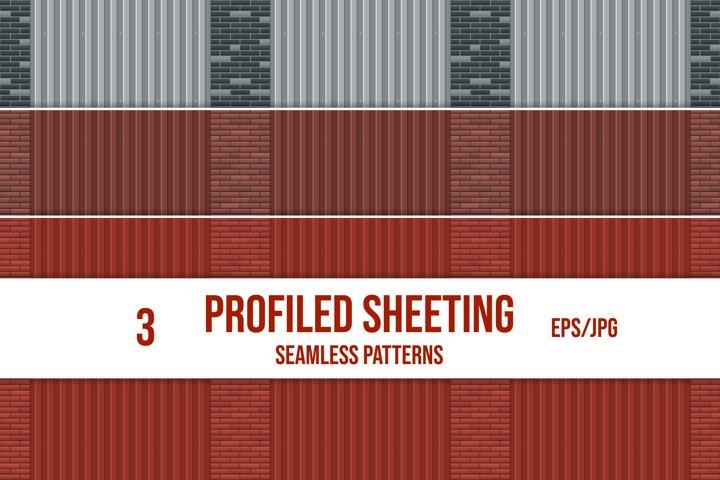 Set of profiled sheeting and brick wall seamless patterns.