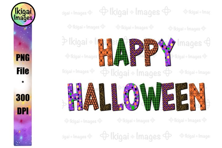 Happy Halloween Word Art, PNG Sublimation