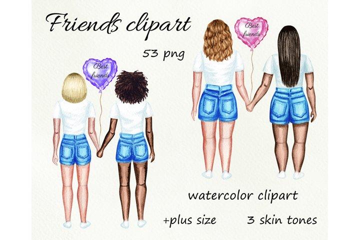 Best friends watercolor customizible clipart. Besties, BFF