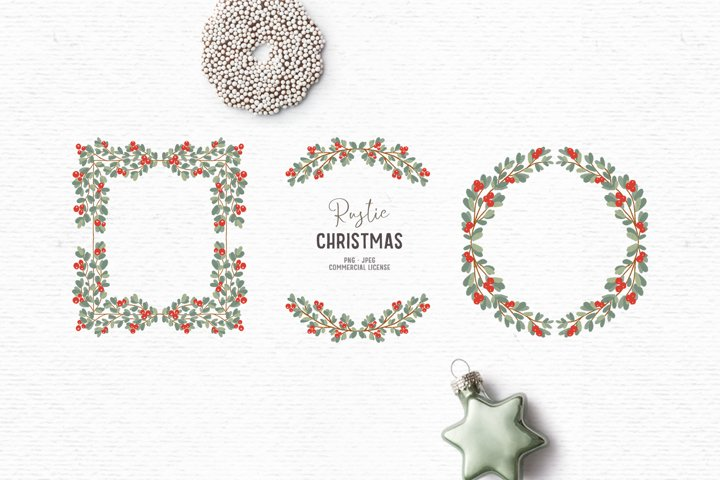 Hand-drawn Christmas clipart| Christmas wreath clipart