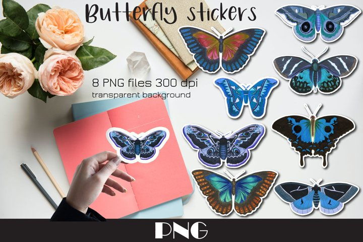 Blue butterfly PNG, 8 Butterfly stickers