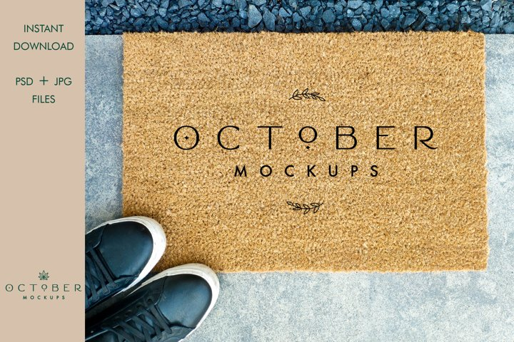 Coir doormat mockup | Product mock up JPG, PSD smart object
