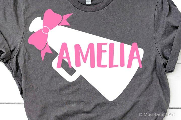 Megaphone Monogram Svg, Girl Football Svg, Baby Girl Shirt