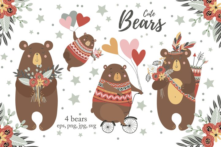 Boho bears svg Baby animals png Nursery wall art Baby shower