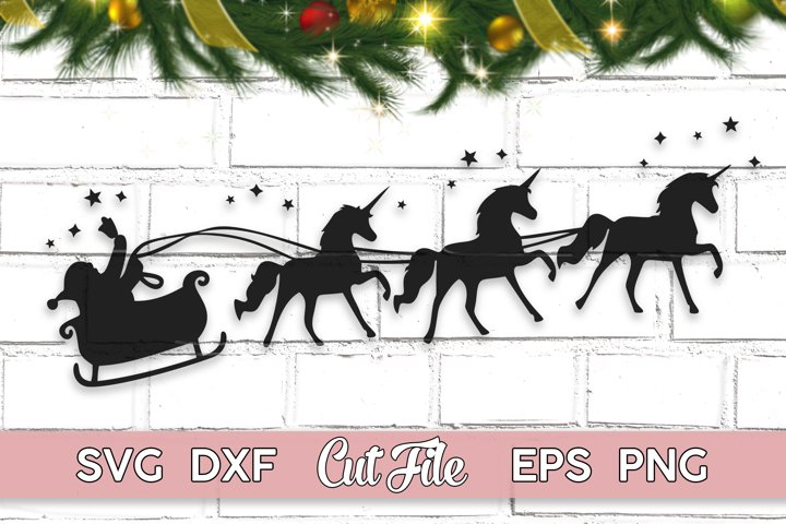 Christmas Unicorn SVG sleigh ride cut file with PNG EPS DXF
