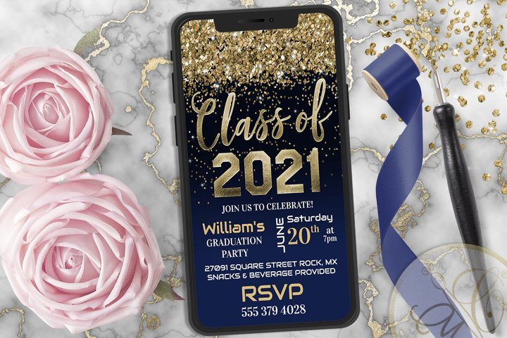 Navy Blue Graduation Phone Invitation, Class of 2021