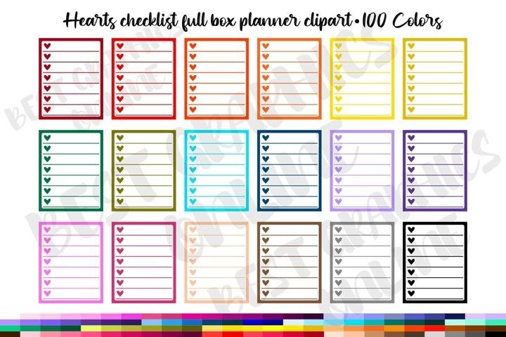 100 Hearts checklist planner stickers clipart Digital planer